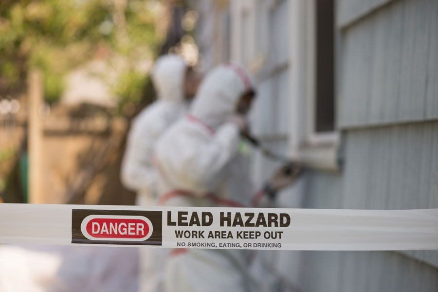 How to treat lead paint found in a commercial building