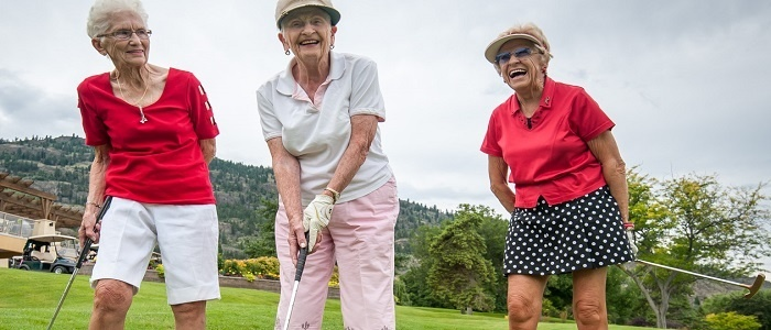 Old women playing golf at a retirement village.